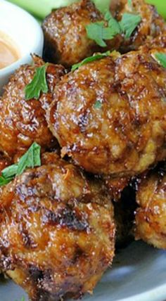 Spicy Chicken Meatballs with honey glaze & Buffalo Ranch Dipping Sauce make a great appetizer that's perfect for every occasion from parties and game day! Mince Recipes, Spicy Recipes, Chicken Recipes, Cooking Recipes, Healthy Recipes, Meatball Recipes, Bariatric Recipes, Savoury Recipes, Turkey Recipes