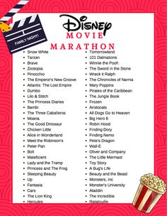 Free Printable Disney Movie Marathon List