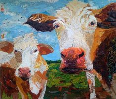 """Paper Paintings:  """"Two Moos"""" - collage by Elizabeth St. Hilaire Nelson"""