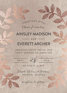 Folk inspired wedding invitation design with real rose gold foil detail. By Minted artist, Pandercraft and available on Minted.com