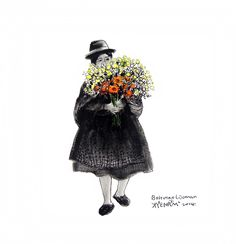 bolivian woman with flower Winter Hats, Crochet Hats, Woman, Wallpaper, Tattoos, Illustration, Flowers, Painting