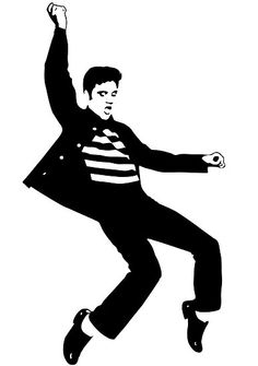 Elvis Presley ❤️ Jailhouse Rock was my favorite song and dance by Elvis when I was a kid. Elvis Tattoo, Silhouette Images, Silhouette Cameo, Stencil Art, Stencils, King Elvis Presley, Jailhouse Rock, Rock And Roll, Tatting