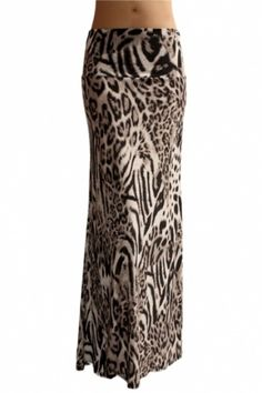 - Polyester, Spandex Blend - Full Length Banded Waist Foldover - Made in USA - Stylish Animal - Measurements before stretch Waist Hip Length Small Medium Large X-La Leopard Maxi Skirts, Maxi Skirt Outfits, Long Maxi Skirts, Blouse And Skirt, White Skirts, Next Fashion, Fashion Outfits, Fashion Ideas, Women's Fashion