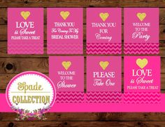 Bridal Shower Heart SIGNS - Gold Heart - Gold and Pink