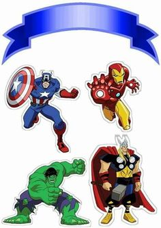 My Best Partys: Top of Paper Cake to Print Several Free Templates Avenger Cupcakes, Avenger Cake, Avengers Birthday, Superhero Birthday Party, Birthday Cake Toppers, Cupcake Toppers, Marvel Cake, Cake Banner, Party Decoration