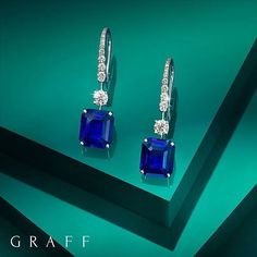 Graff Diamonds Electric Earrings. The precise cut and striking deep blue colour of two rare sapphires weighing over 12 carats are perfectly displayed as magnificently elegant earrings.