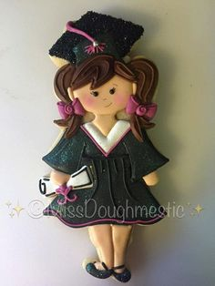 Miss Doughmestic Girl Graduate Standing with Diploma Graduation Cookie Cutter or Fondant Cutter and Clay Cutter Graduation Desserts, Graduation Party Foods, Graduation Cupcakes, Cut Out Cookies, Cupcake Cookies, Sugar Cookies, Xmas Cookies, Halloween Cookies, Cake Paris