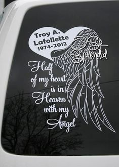 Half My Heart is in Heaven with my angel - Large Personalized Memorial for Car Window - Heart & Angel Wing Decal