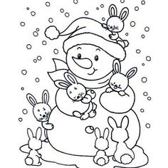 Two Little Cat With Winter Snowman Wearing A Boy Scout Hat Coloring Pages WinterPrintable