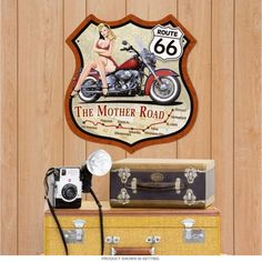 Route 66 Mother Road Pin Up Motorcycle Shield Sign