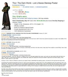 Funny Reviews of the Life-size Cardboard Loki on Amazon. Product Page: http://www.amazon.com/gp/product/B00GJYVMI0/ref=oh_details_o01_s01_i00?ie=UTF8&psc=1