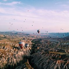 Balloons at sunrise in Cappadocia, Turkey
