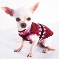 Elegant Maroon Pink Dog Sweater Hand Knitted Tooth by myknitt #etsy #chihuahua #dogs #pets #crochet #myknitt