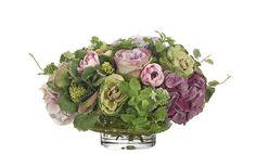 Rose, Hydrangea, Mint (PF246): Hydrangea Rose, Purple Pink, Glass Bowl, 19wx16dx11h