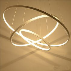 Modern pendant lights for living room dining room Circle Rings acrylic aluminum body LED Lighting ceiling Lamp fixtures SF Dining Room Lamps, Chandelier In Living Room, Dining Room Lighting, Home Lighting, Dining Rooms, Modern Pendant Light, Chandelier Pendant Lights, Chandelier Lighting, Circle Chandelier