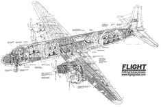 DC-7C cut away drawing, Flight International