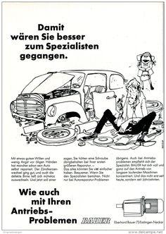 Original-Werbung/ Anzeige 1969 - CARTOON / BAUER - ANTRIEBE - ESSLINGEN - ca. 180 x 240 mm