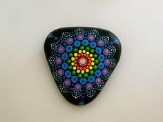 Bohemian dot art-mandala stone-painted rock-summer por RockArtiste