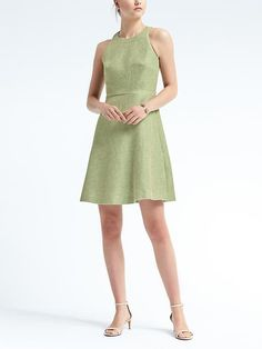 Tweed fit-and-flare dress by Banana Republic. The green!