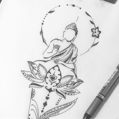 Find the tattoo artist and the perfect inspiration to get your tattoo. - Art created by Luciano Tatuador. Buddha Tattoo Design, Buddha Tattoos, Yoga Tattoos, Body Art Tattoos, Sleeve Tattoos, Small Tattoos, Tatoos, Budha Art, Tattoo Damen