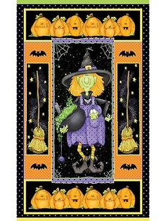 Toil and Trouble Panel - x Halloween Quilts, Halloween Fabric, Toil And Trouble, Bead Kits, Trick Or Treat, Sewing Patterns, Card Making, Knitting, Holiday