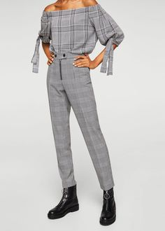 Prince of wales trousers - Women Fashion Mode, Fashion Pants, Trousers Women, Pants For Women, Mode Cool, Iranian Women Fashion, Formal Pants, Mango France, Pantsuits For Women
