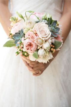 Soft pinks and peaches, succulents, blushing bride protea and hypericum berries. by maria.rosario.read.corbella