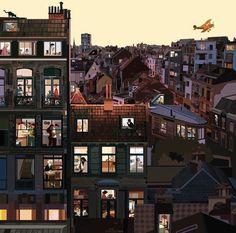 "Pierpaolo Rovero: ""Bruxelles has breakfast Illustration Artists, Illustrations, Paris Amor, Up On Poppy Hill, City Art, Studio Ghibli, Rue, Location History, Multi Story Building"