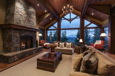 Love the layout. Love that the vaulted ceilings aren't too high. Love the wood and the fireplace.