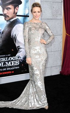 Silver Fix from Rachel McAdams' Best Looks  Wow! Rache dazzles at the Sherlock Holmes: A Game of Shadows Los Angeles premiere in a silver Marchesa cowl-back gown, glittery Christian Louboutin heels and upswept hairdo.
