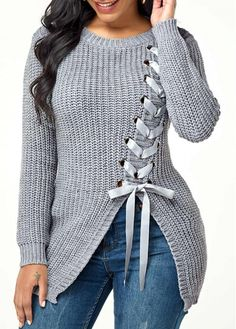 New Arrival | Liligal.com Fall Sweaters For Women, Ladies Sweaters, Cheap Sweaters, Trendy Tops For Women, Sweater Fashion, Casual Tops, Stylish Tops, Long Sleeve Sweater, Grey Sweater