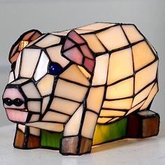 Tiffany-Style Pig Accent Lamp  at HSN.com. I seriously need to make this my first project when I learn how to do stained glass!!