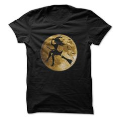 Witch on her broom in front of the moon. T-Shirts, Hoodies, Sweaters