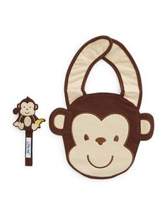Little Me Monkey Bib And Pacifier Holder Set  Brown
