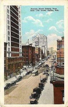 Omaha Nebraska NE 1920s Farnam Street West From 13th Street Vintage Postcard