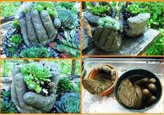 Main en ciment dans le jardin