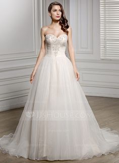 A-Line/Princess Sweetheart Chapel Train Tulle Wedding Dress With Ruffle Beading Appliques Lace Sequins (002056614)
