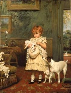 """Girl With Dogs"" (1893), by English artist - Charles Burton Barber (1845-1894), Oil on canvas, 91.5 x 71.5 cm. (36.02 x 28.15 in.), Lady Lever Art Gallery - Liverpool (United Kingdom - Port Sunlight)."