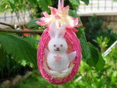 Ovetto di cotone rosa e conigletto