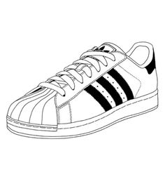 Adidas superstar shoes doodle or drawing. My favorite
