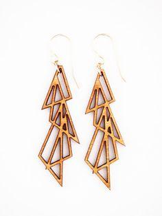 Folia Design SF Laser Cut Jewelry - Earrings, Bamboo