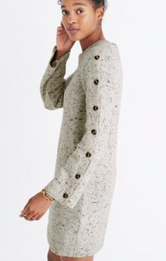 Donegal Button-Sleeve Sweater-Dress : shopmadewell casual dresses | Madewell