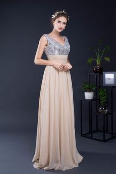 Long V Neck A-Line Chiffon Bridesmaid Dress - My Wedding Ideas