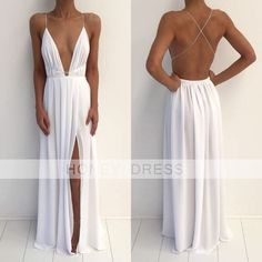 Image of White Chiffon V Neck Backless Open Back Evening Dress With Slit