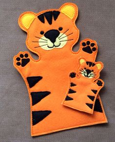 Tiger Jungle Animal Hand Puppet Adult OR Kid door ThatsSewPersonal Tiger Jungle Animal Hand Puppet Adult OR Kid door ThatsSewPersonal Felt Puppets, Puppets For Kids, Felt Finger Puppets, Puppet Crafts, Felt Crafts, Crafts For Kids, Animal Hand Puppets, Puppet Patterns, Operation Christmas Child