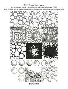 """""""Tipple, and then some"""". An all-in one visual tutorial from Margaret Bremner, CZT. There are many variations of this simple tangle. Tipple is a Zentangle®-original Tangle Pattern."""