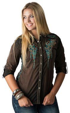 Roar Women's Lagunas Brushed Black with Embroidery & Rhinestones Long - 3/4 Tabbed Sleeves Western Shirt