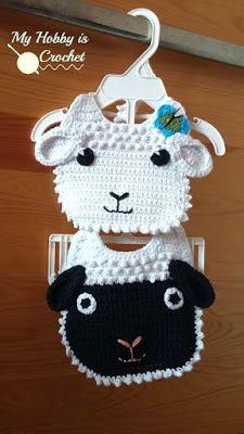 Crochet Baby Mittens - Little Lamb Baby Bib - Free Crochet Pattern Crochet Baby Bibs, Crochet Baby Clothes, Love Crochet, Baby Blanket Crochet, Crochet For Kids, Baby Knitting, Crochet Flowers, Crochet Crafts, Crochet Projects