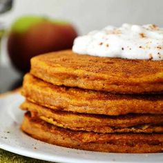 Pumpkin Pancakes!  I'm a BIG fan of pumpkin! They are a nutritional treasure-trove, too good to be relegated to a Halloween decoration or – for most people – a wedge of pie served only at Thanksgiving!