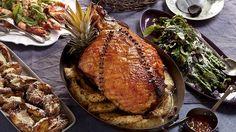 Baked organic ham with cumquat marmalade glaze and allspice pineapple shown with horseradish potaoes.